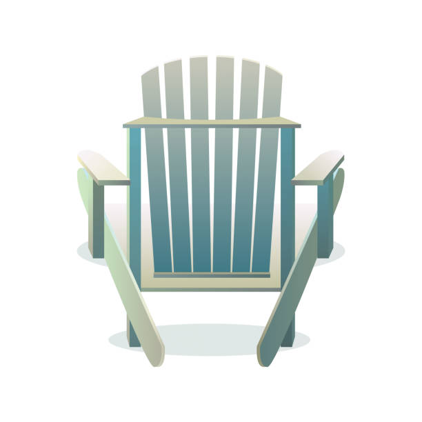 Adirondack wooden chair from the back Adirondack wooden chair from the back, Vector flat illustration adirondack chair stock illustrations