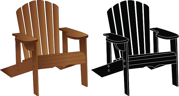Adirondack/Muskoka Chair Adirondack/Muskoka Chair, vacation chair, in colour and in black outline muskoka stock illustrations