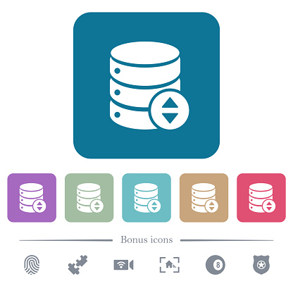 Adjust database value flat icons on color rounded square backgrounds