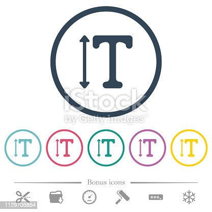 istock Adjust font height flat color icons in round outlines 1129705854
