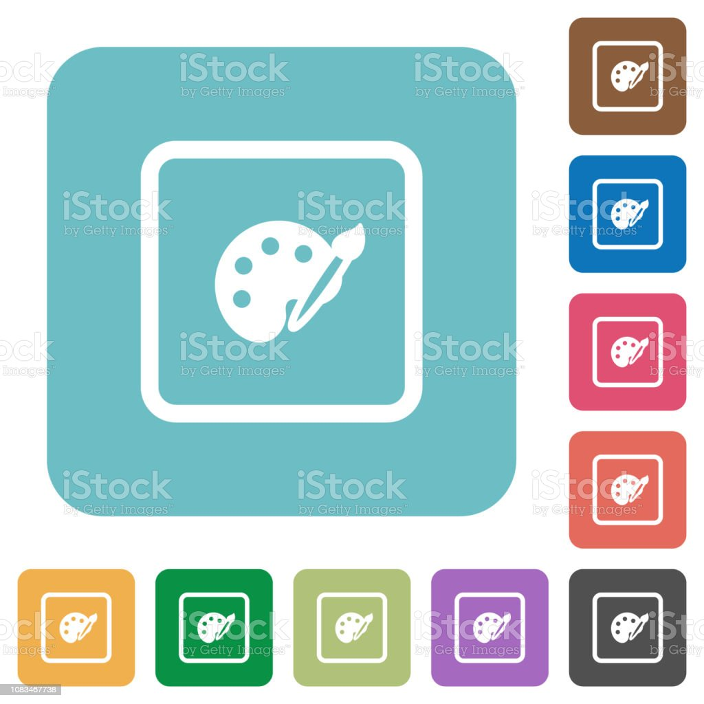 Adjust object color rounded square flat icons