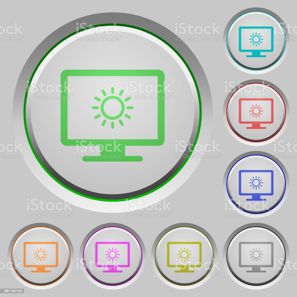 Adjust screen brightness push buttons vector art illustration