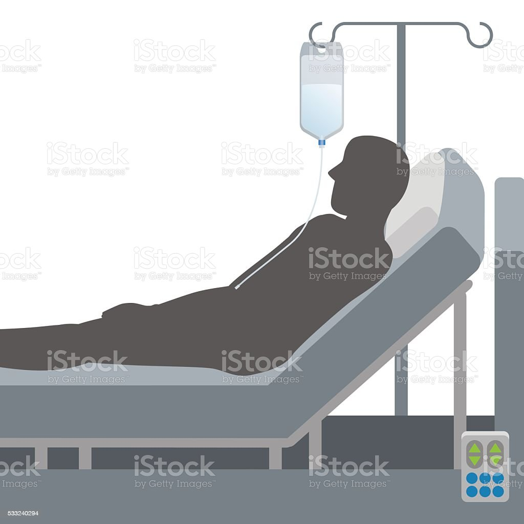 Adjustable bed and intravenous drip, vector illustration vector art illustration