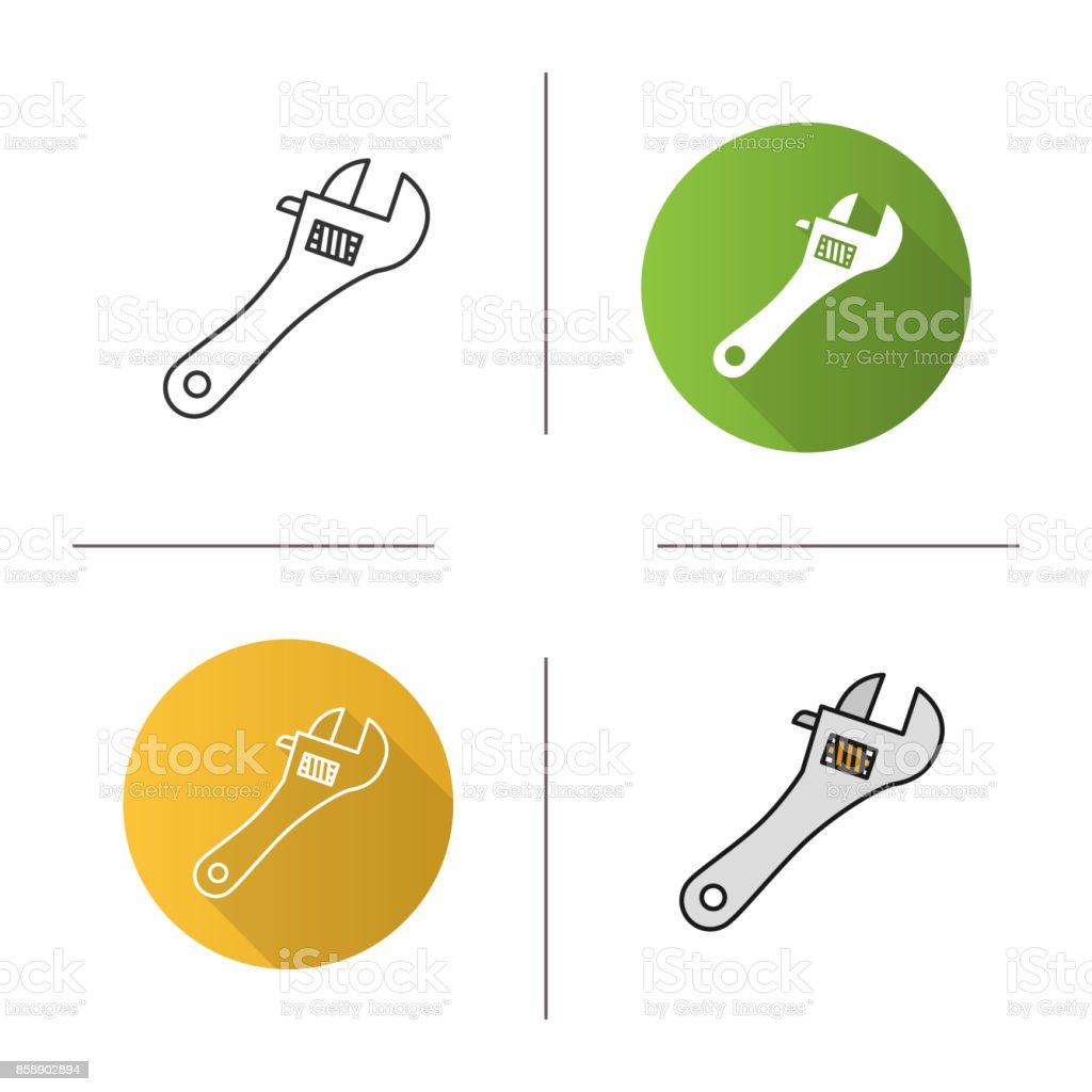 Adjustable wrench icon vector art illustration