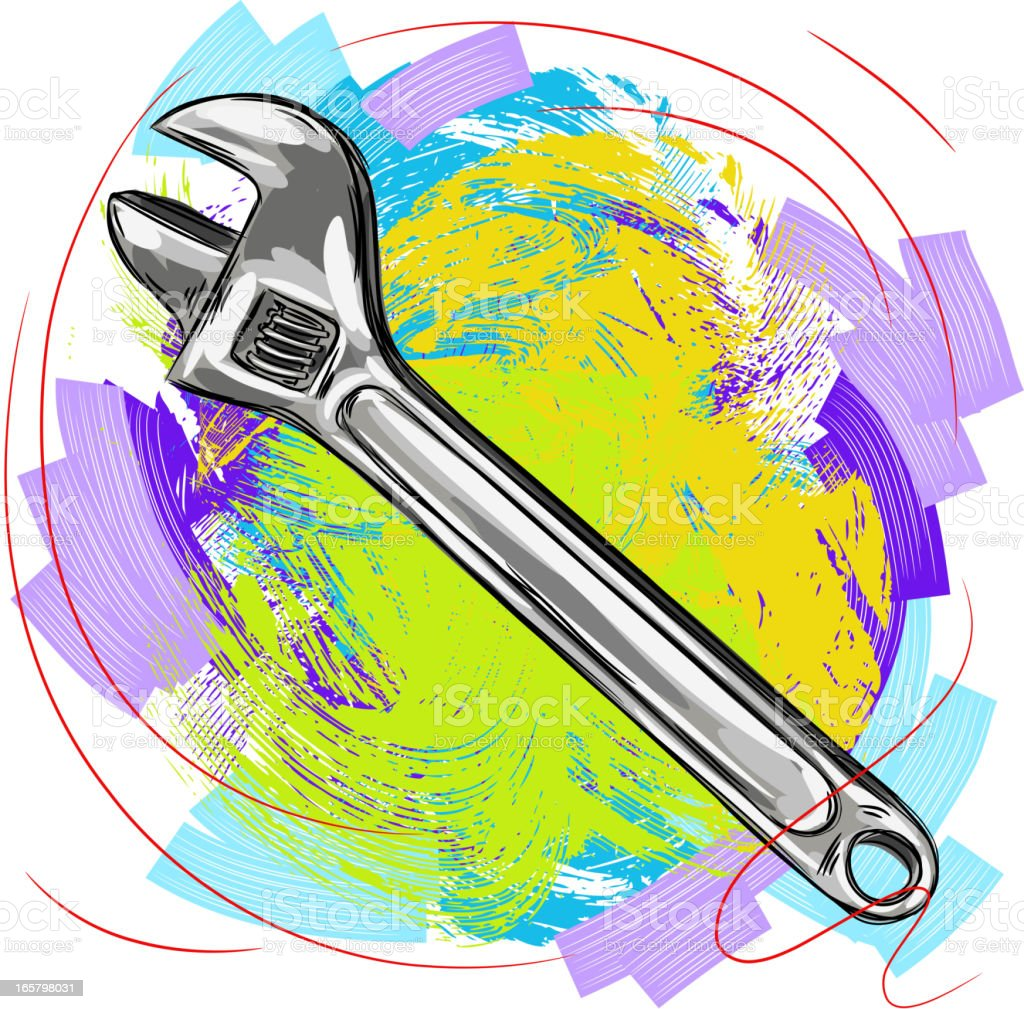 Adjustable wrench royalty-free stock vector art