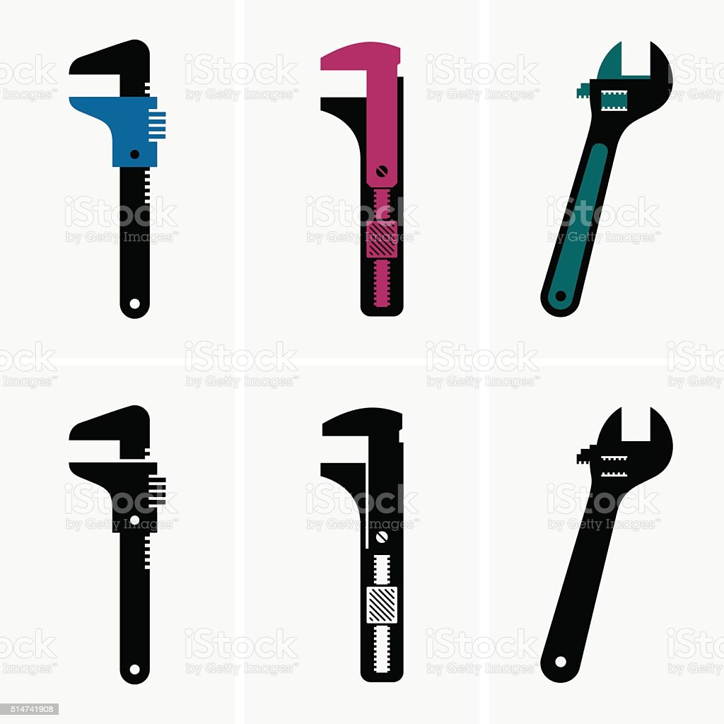 Adjustable wrenches vector art illustration