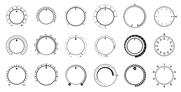 Volume level knob, rotary dials with round scale and round controller. Min and Max radial selector vector graphic set