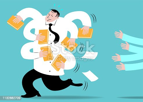 An office boss running away from employees with files in his hands.