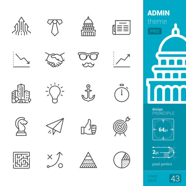 Administration, outline icons - PRO pack Business and Administration theme.  Single line Pro Pack contains the following icons: • Growing Arrows, Necktie and White collar, Capitol Building - Washington DC, Newspaper; • Graph Down, Handshake icon, Eyeglasses and Mustache, Graph Up; • Financial Building, Light bulb (Idea icon), Anchor, Stopwatch; • Chess Knight, Paper Airplane, Thumbs Up, Sports Target; • Maze icon, Strategy, Maslow Pyramid, Pie Chart.  PIXEL PERFECT DESIGN PRINCIPLE — pixel grid alignment, all the icons are designed in 64x64 pt square, stroke weight 2 pt.  >> Take a look at the complete PRO packs collection https://www.istockphoto.com/collaboration/boards/bWuaNNNEwE-iQ8JnJpMYMg government stock illustrations