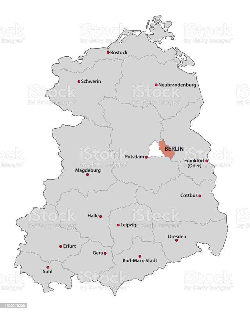 Administrative And Political Administrative Map Of The Former German Democratic Republic Gdr Stock Illustration Download Image Now Istock