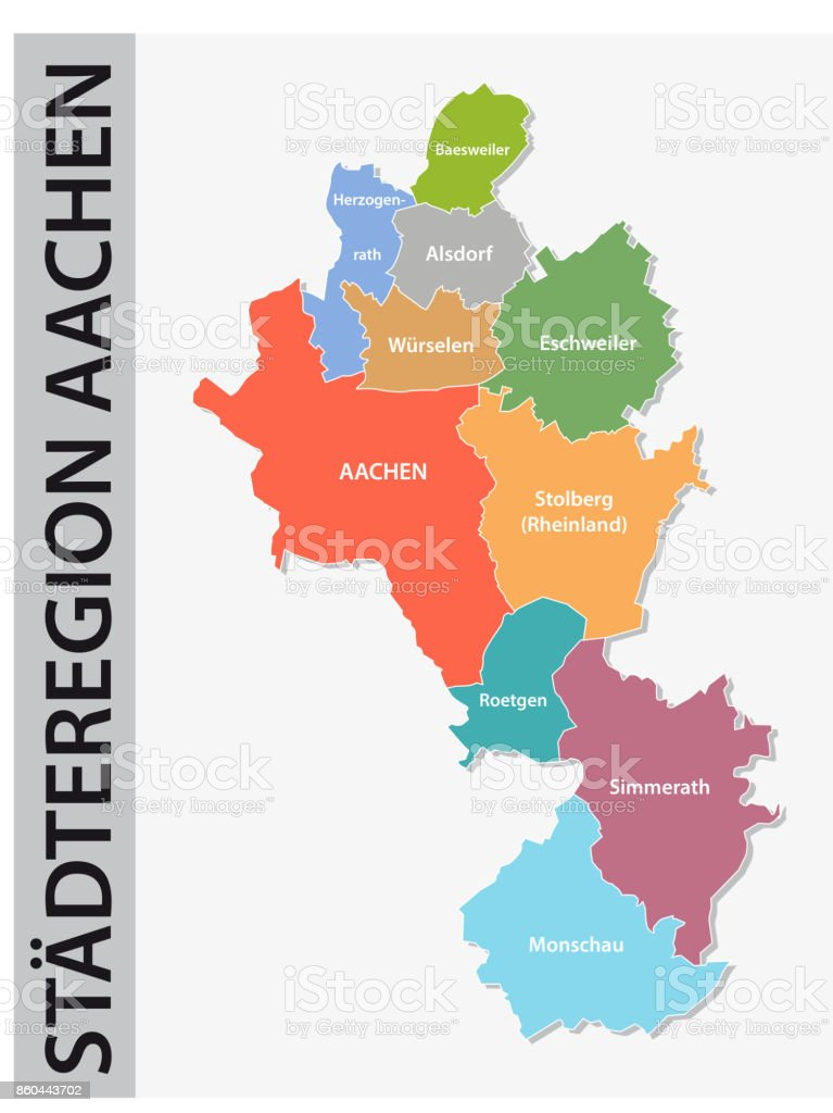 Administrative And Political Map Of Aachen Region In German Language ...