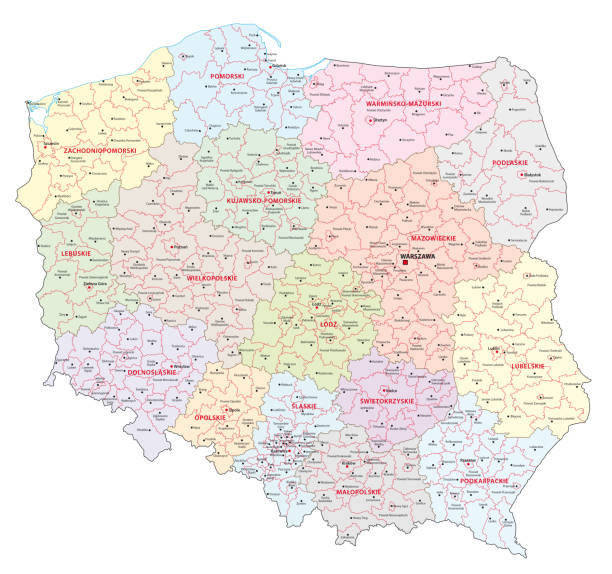 administrative and political map of poland - polska stock illustrations