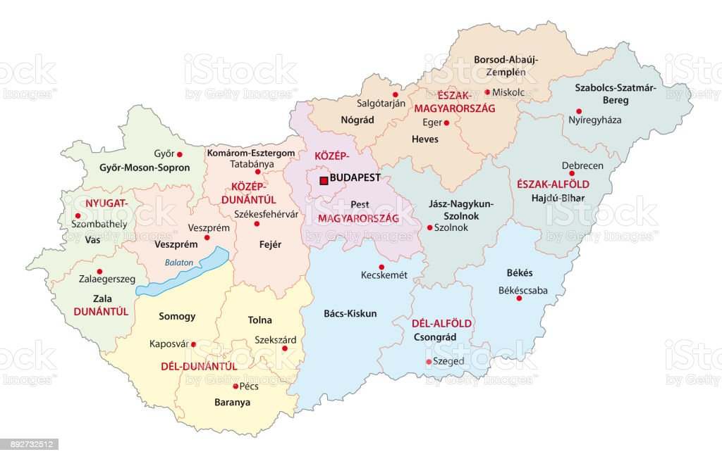 Hungary Political Map.Administrative And Political Map Of The Hungarian Regions And