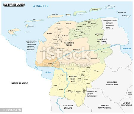 istock administrative and political map of the Lower Saxony region of East Frisia, Germany 1222908475