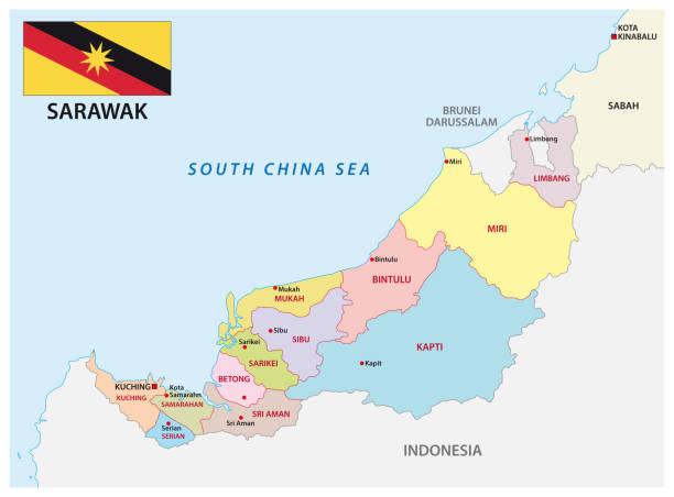 administrative und politische karte der malaiischen division sarawak mit flagge - kuching stock-grafiken, -clipart, -cartoons und -symbole