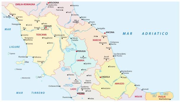 administrative und politische karte der regionen mittelitaliens - toskana stock-grafiken, -clipart, -cartoons und -symbole
