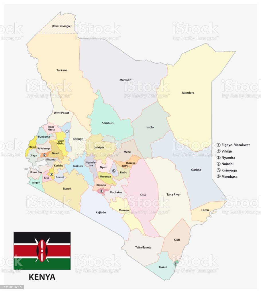 Administrative and political map of the republic of kenya with flag administrative and political map of the republic of kenya with flag royalty free administrative and gumiabroncs Choice Image