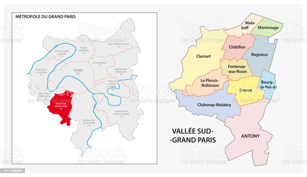 Administrative And Political Map Of Vallee Sud Grand Paris Greater