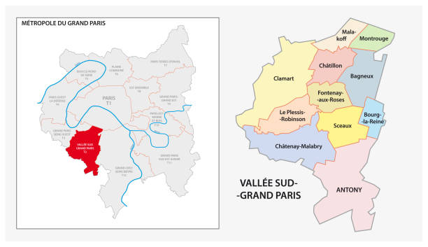administrative and political map of Vallee Sud Grand Paris, Greater Paris, France administrative and political vector map of Vallee Sud Grand Paris, Greater Paris, France seine river stock illustrations