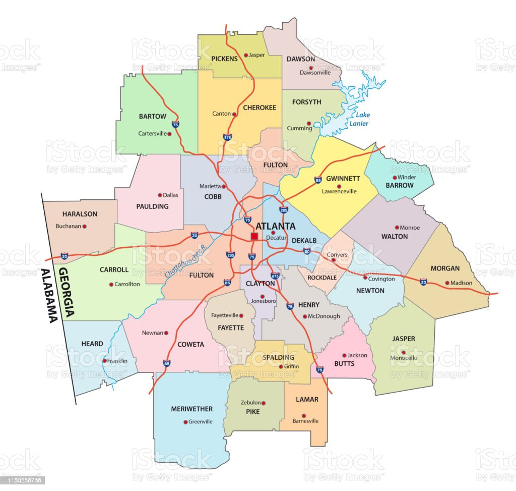 Road Map Of Atlanta Georgia.Administrative And Political Road Map Of The Atlanta Metropolitan