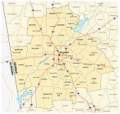 administrative and political road map of the Atlanta metropolitan area georgia