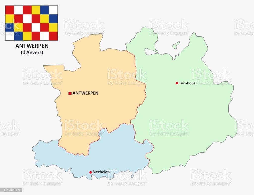 Administratieve En Politieke Vector Kaart Van De Belgische Provincie Antwerpen Met Vlag Stockvectorkunst En Meer Beelden Van Abstract Istock