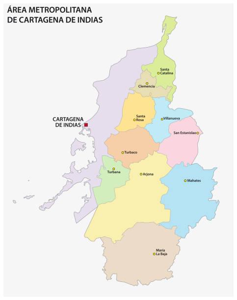 administrative und politische vektorkarte des großraums von cartagena de indias, kolumbien - cartagena stock-grafiken, -clipart, -cartoons und -symbole