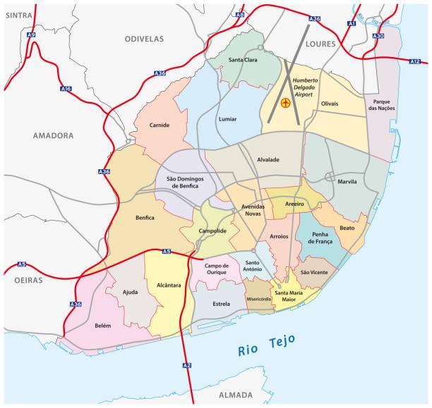 mapa administracyjna i drogowa nowej struktury miasta lizbona - lizbona stock illustrations
