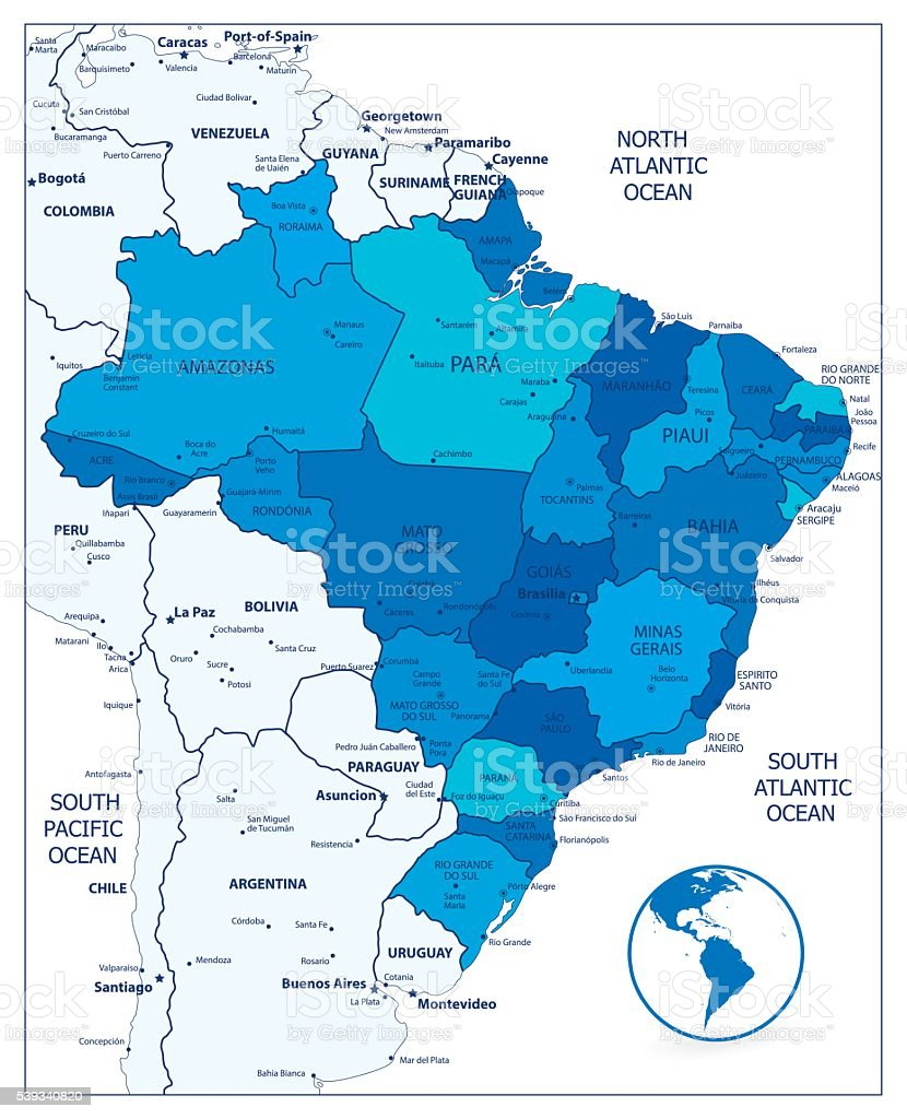 Administrative Divisions Blue Map Of Brazil stock vector art