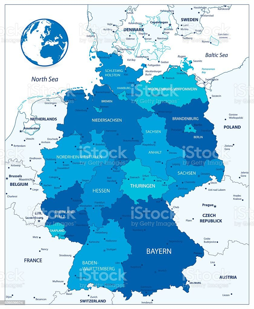 Administrative Divisions Blue Map Of Germany Stock Vector Art More