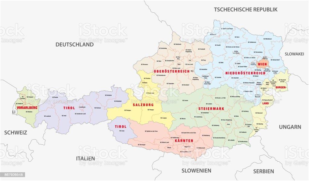 Administrative map of Austria in German language vector art illustration