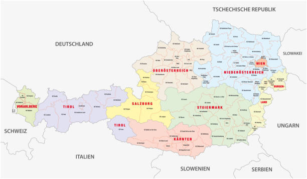 bildbanksillustrationer, clip art samt tecknat material och ikoner med administrativ karta över österrike i tyskt språk - salzburg