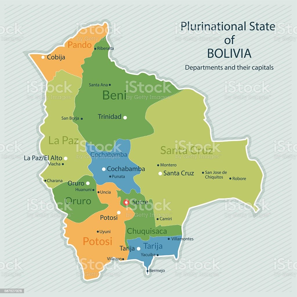 Administrative map of Bolivia vector art illustration
