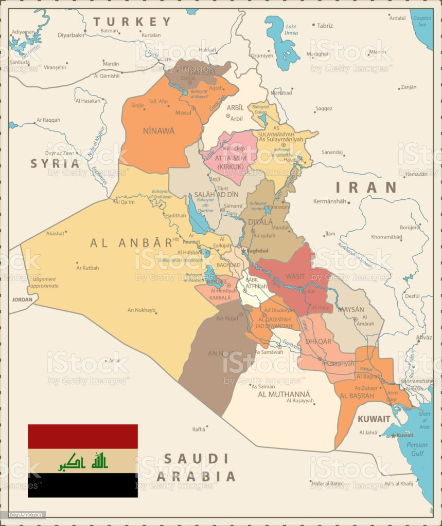 Administrative Map Of Iraq Vintage Color Stock Illustration - Download  Image Now