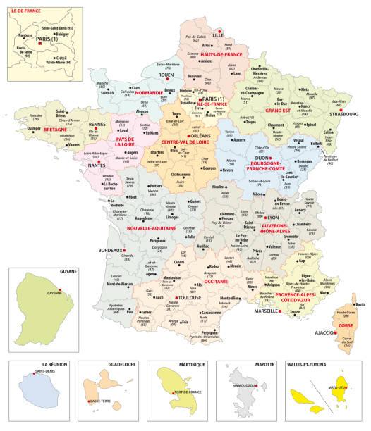 mapa administracyjna 13 regionów francji i terytoriów zamorskich - francja stock illustrations