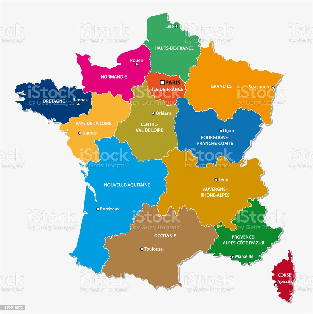 Administrative map of the 13 regions of france since 2016 4 vector art illustration