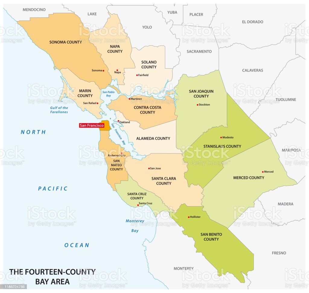 Image of: Administrative Map Of The California Region San Francisco Bay Area Stock Illustration Download Image Now Istock