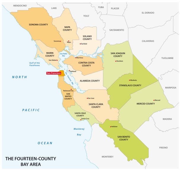 Administrative map of the California region San Francisco Bay Area Administrative map of the California region San Francisco Bay Area oakland stock illustrations
