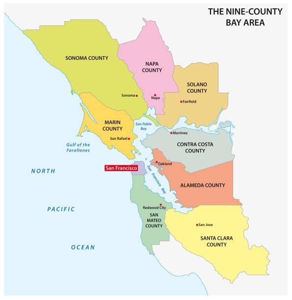 Administrative map of the California region San Francisco Bay Area Administrative map of the California region San Francisco Bay Area bay of water stock illustrations