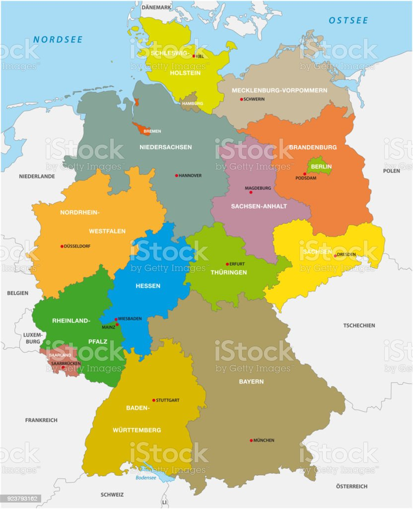 Administrative Map Of The Federal Republic Of Germany In German ...
