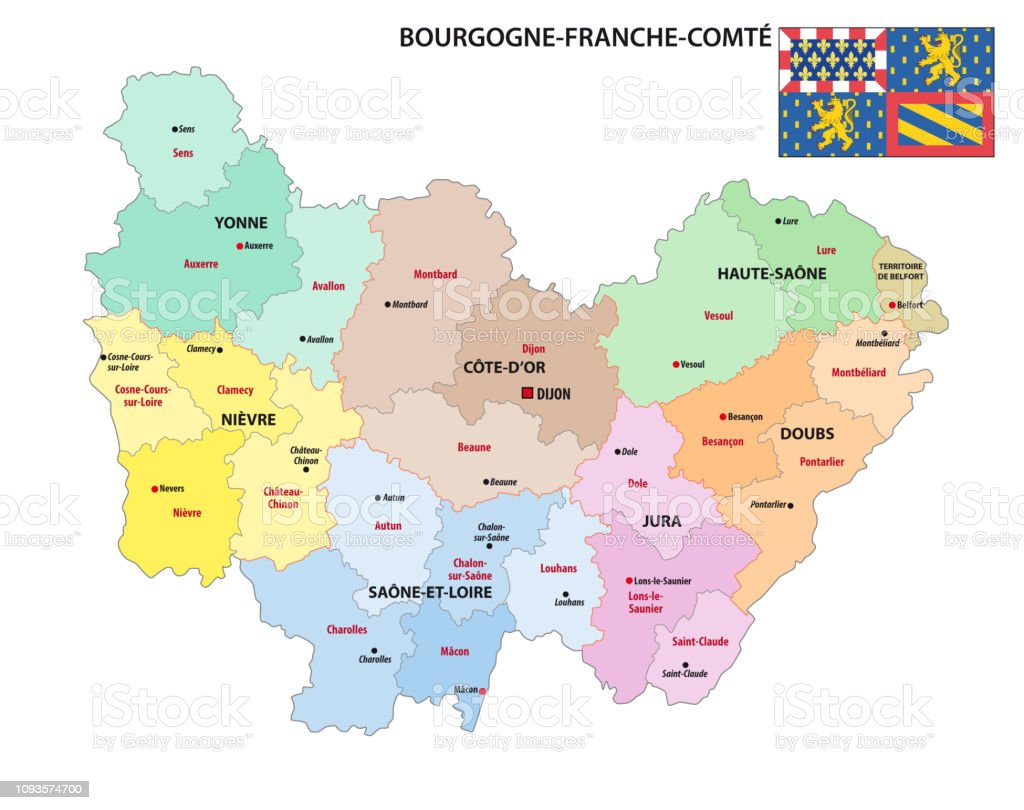 Carte Region Bourgogne.Administrative Map Of The New French Region Bourgognefranchecomte With Flag Stock Illustration Download Image Now
