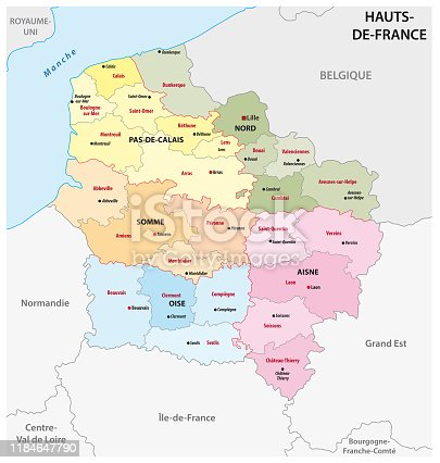 istock administrative map of the new french region Hauts de France 1184647790