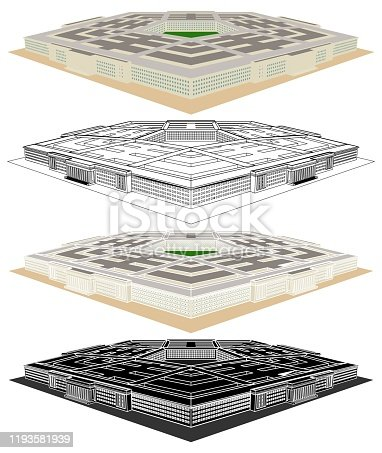 istock Administrative military center. The Pentagon. Perspective view. 1193581939