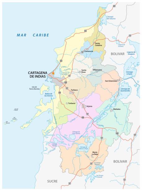 administrative, politische und straßen vektor karte des großraums von cartagena de indias, kolumbien - cartagena stock-grafiken, -clipart, -cartoons und -symbole