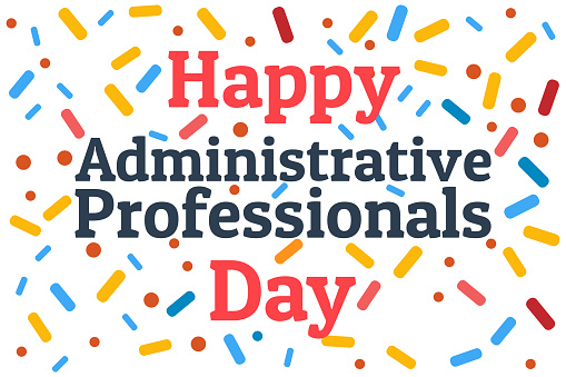 Administrative Professionals Day, Secretaries Day or Admin Day. Holiday concept. Template for background, banner, card, poster with text inscription. Vector EPS10 illustration