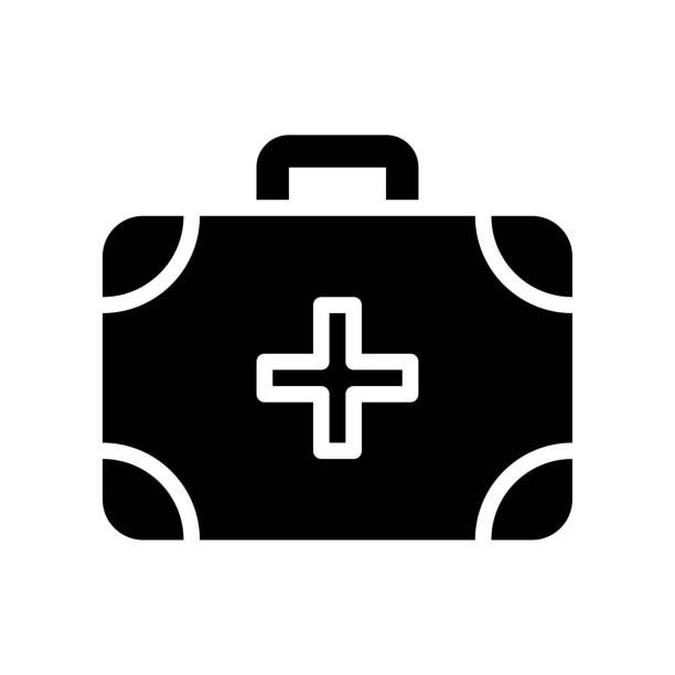 administrative related medical, or first aid kit with plus sign vector in solid design, administrative related medical, or first aid kit with plus sign vector in solid design administrate stock illustrations