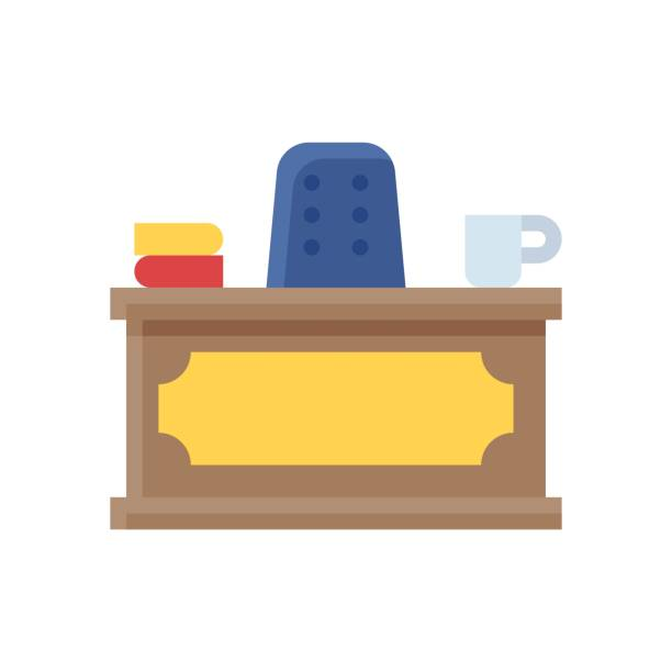 administrative related prime minister chair with table, books, and tea cup vector in flat design, administrative related prime minister chair with table, books, and tea cup vector in flat design administrate stock illustrations