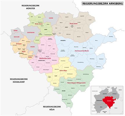 administrative vector map of the Arnsberg region in German language, North Rhine-Westphalia, Germany