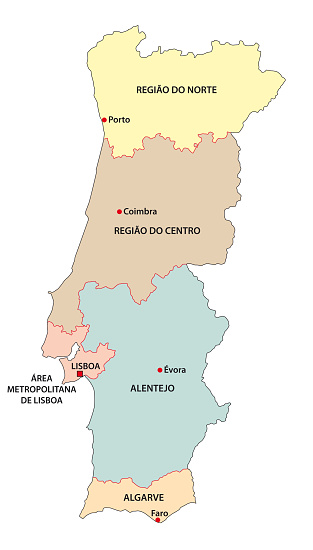 Administrative vector map of the five regions of Portugal