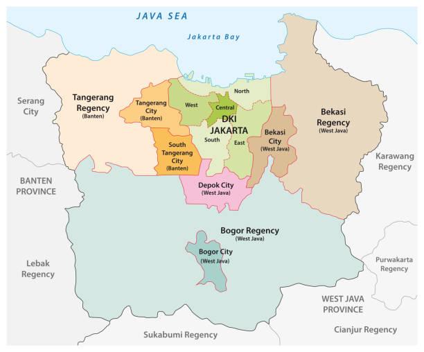 인도네시아에서 가장 인구가 많은 대도시 인 자카르타 수도권의 행정 벡터지도 - 자카르타 stock illustrations